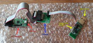 ZigbeeStick und CC Debugger mit Beschriftung